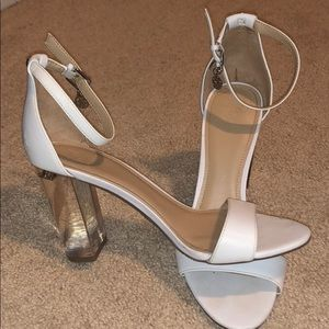 White guess heel with clear chunky heel